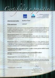 Certifikát o pojištění 2013